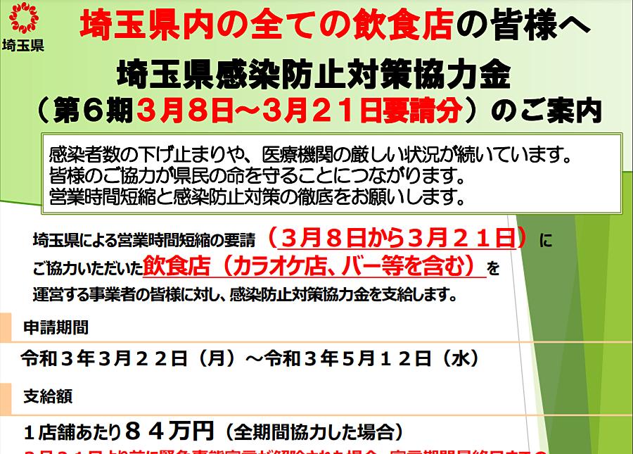 埼玉県感染防止対策協力金(第6期)